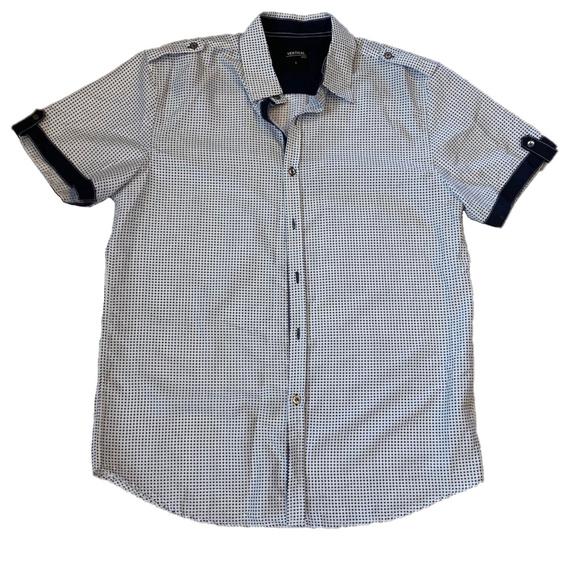 Other - Vertical Sport Men's Button Down White &Navy Shirt